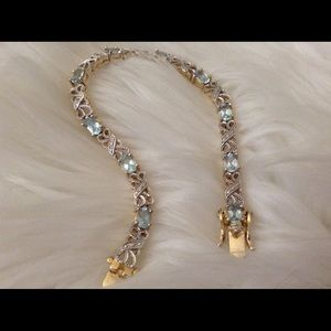"Jewelry - Natural Blue Topaz & Diamond Bracelet, 71/4"""